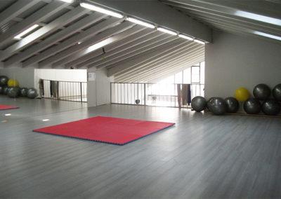 Sala Superiore della Palestra Gym Haus con Fit Ball e tappetino per corso di Difesa Personale