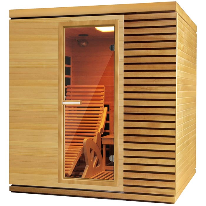 La cabina della sauna a infrarossi, vista dal davanti